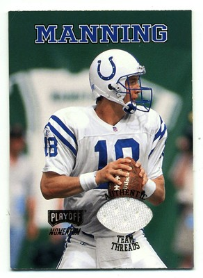 8a9bf381f95 COLTS (INDIANAPOLIS), PEYTON MANNING, TENNESSEE, 1998, PLAYOFF MOMENTUM TEAM  THREADS, 18, ROOKIE - GAME USED JERSEY ...